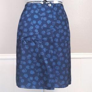 Lafayette 148 navy floral skirt